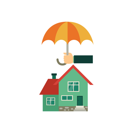 Vector flat house insurance concept. Private house being protecting from disasters by business hand holding big umbrella. Natural disaster insurance scenes. Isolated illustration on a white background.