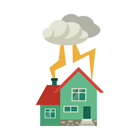 Vector flat house insurance concept set. House being damaged by thunder and lighting strike storm. Natural disaster insurance scenes. Isolated illustration on a white background. Ilustração