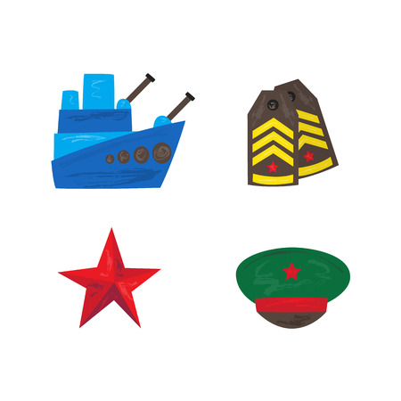 Vector flat army, military, 23 of February, Russian Defender of the Fatherland Day symbol icons - military warship boat, shoulder straps, peakless cap red star. Isolated illustration, white background.