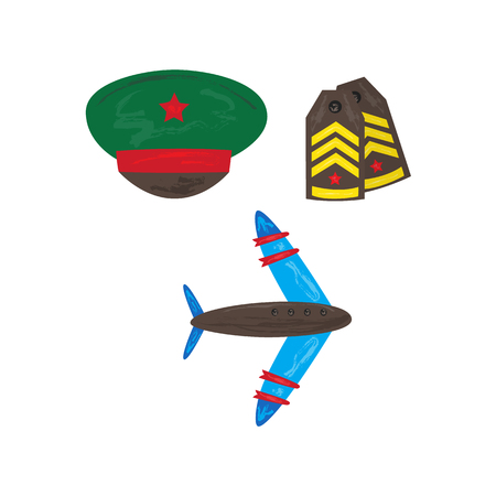 Vector flat army, military, 23 of February, Russian Defender of the Fatherland Day symbol icons - military aircraft, jet, plane shoulder straps, peakless cap with star. Isolated illustration. 向量圖像
