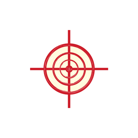 Vector flat army, military, 23 of February, Russian Defender of the Fatherland Day symbol icon - red sniper scope aim, target, crosshair. Isolated illustration, white background. Ilustração