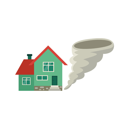Vector flat house insurance concept set. House being damaged by tornado wind hurricane or whirlwind. Natural disaster insurance scenes. Isolated illustration on a white background.