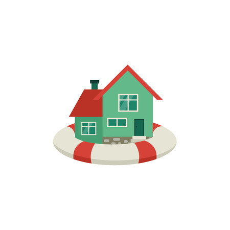 Vector flat house insurance concept. Private house being protecting from flood disasters by big inflatable unsinkable ring. Natural disaster insurance. Isolated illustration on a white background. Illustration