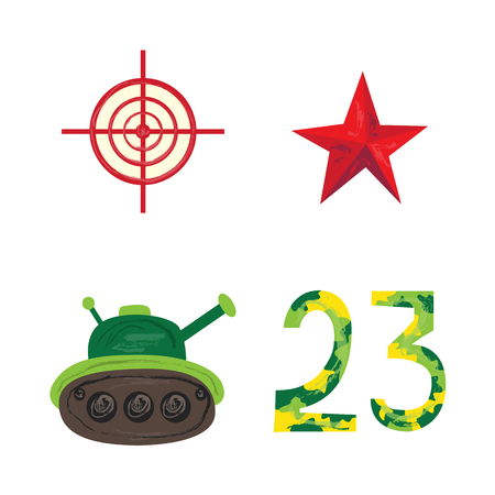 Vector flat army, military, 23 of February, Russian Defender of the Fatherland Day symbol icons - green tank, 23 camouflage numbers, sniper scope aim, target, crosshair red star. Isolated illustration.