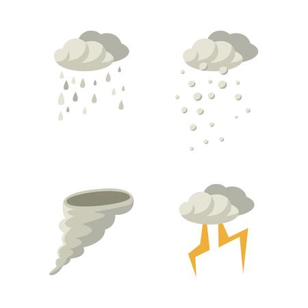 Conjunto de ícone de mau tempo - chuva, neve, furacão e relâmpago, ilustração vetorial plana isolado no fundo branco. Coleção de ícones de chuva, neve, tornado e relâmpago de estilo simples