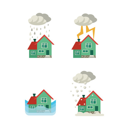 Vector flat house insurance concept set. House being damaged by wind, pouring rain, lighting snowfall and flood. Natural disaster insurance scenes. Isolated illustration on a white background