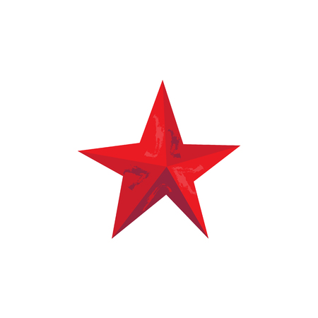 Vector flat army, military, 23 of February, Russian Defender of the Fatherland Day symbol icon- red star. Isolated illustration, white background.