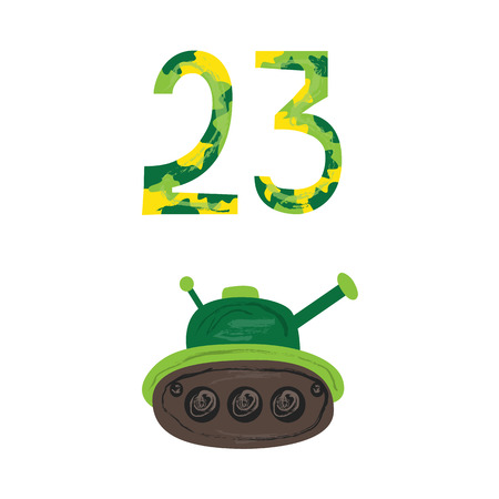 Vector flat army, military, 23 of February, Russian Defender of the Fatherland Day symbol icons - military green tank, 23 camouflage numbers. Isolated illustration, white background.