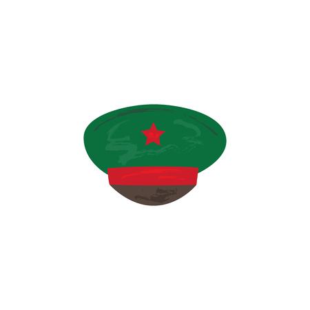 벡터 평면 육군, 군사, 2 월 23 일 러시아 수비수 날 상징 아이콘 - 레드 스타 군사 무한 녹색 모자. 격리 된 그림, 흰색 배경입니다.