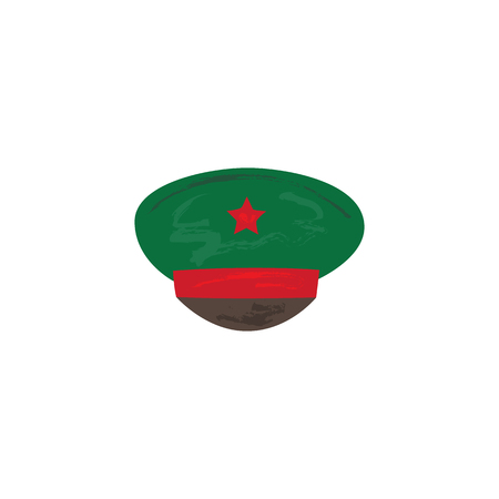 Vector flat army, military, 23 of February, Russian Defender of the Fatherland Day symbol icon - military peakless green cap with red star. Isolated illustration, white background.