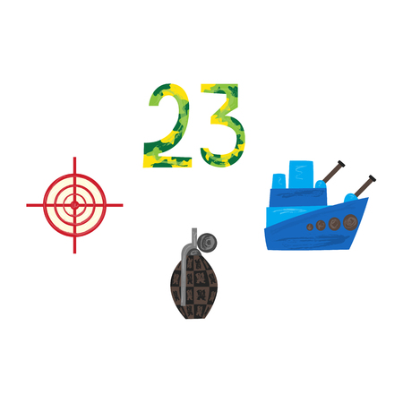 Vector flat army, military, 23 of February, Russian Defender of the Fatherland Day symbol icon 23 camouflage numbers, sniper scope aim, target, crosshair warship boat, grenade. Isolated illustration. Illustration