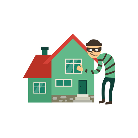 Insurance, protection from theft, robbery icon with male thief hugging cottage house. Flat vector illustration isolated on white background. Flat style icon – house theft, robbery insurance.