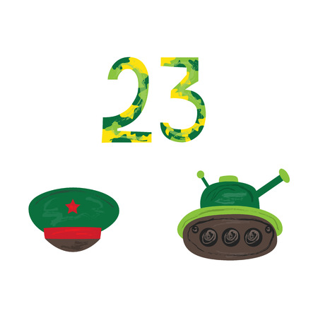 Vector flat army, military, 23 of February, Russian Defender of the Fatherland Day symbol icons - green tank, 23 camouflage numbers, peakless cap with red star. Isolated illustration.