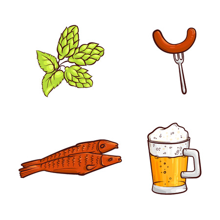 Vector cartoon beer symbols icon set. Big mug of golden lager cool beer with thick foam, green hop cones with leaves, sausage at fork, dried fish - beer snacks. Isolated illustration, white background.