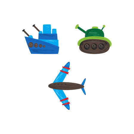 Vector flat army, military, 23 of february, Russian Defender of the Fatherland Day symbol icon warship boat, armored tank, military aircraft jet, plane. Isolated illustration Vettoriali