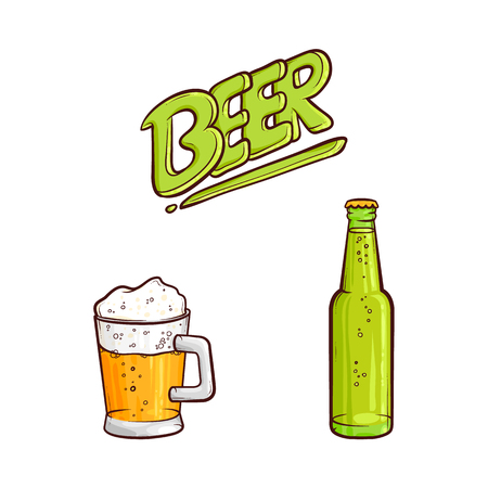 Vector cartoon beer symbols set. Mug of golden lager cool beer with thick white foam and water drops, glass bottle and beer inscription. Ready for your design isolated illustration, white background. Ilustracja