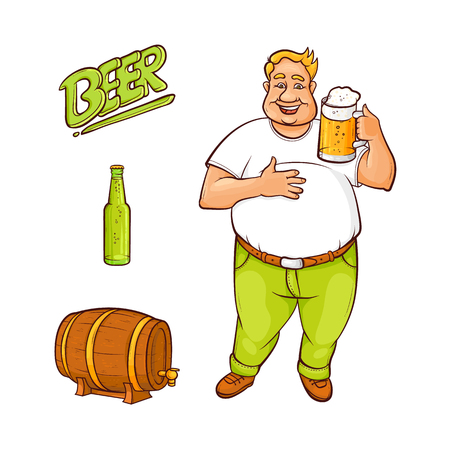 Vector cartoon beer lover - adult man with big beer belly holding mug of golden lager cool beer with thick foamm beer keg, barrel and bottle. Isolated illustration, white background Illustration
