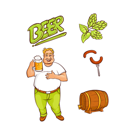 Vector cartoon beer lover - adult man with big beer belly holding mug of golden lager cool beer with thick foam, sausage at fork, green hop cones, leaves wooden keg, barrel. Isolated illustration