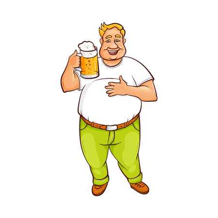 Funny smiling fat, chubby man holding big beer mug, hand-drawn cartoon vector illustration isolated on white background. Full length portrait of funny plump man holding big beer mug