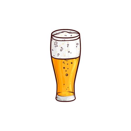 軽いビール、エール、サイダー、手描きの、白い背景に隔離されたスケッチスタイルのベクトルイラストの完全な背の高いガラス。軽いビール、ラ