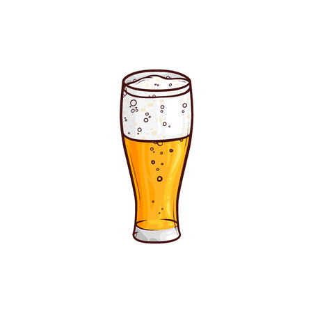 Full tall glass of light beer, ale, cider, hand-drawn, sketch style vector illustration isolated on white background. Hand drawing of light beer, lager, ale, cider with foam in tall glass