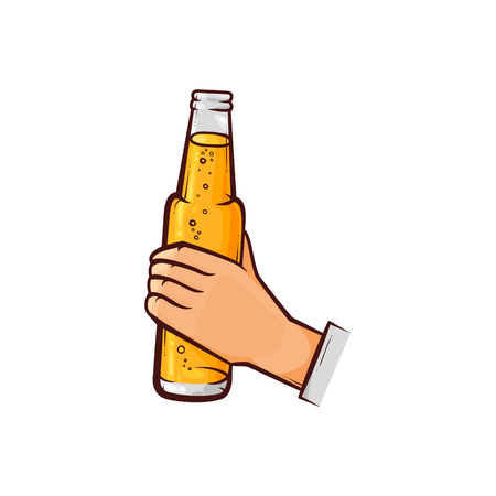 Male hand holding open unlabelled beer bottle, hand-drawn, sketch style vector illustration isolated on white background. Hand drawing of male hand holding opened light beer bottle