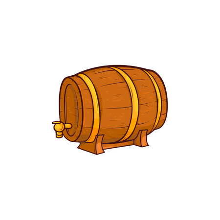 Vector cartoon beer wooden oak keg barrel with iron rings closeup icon. Ready for your design product packaging. Isolated illustration on a white background. Çizim