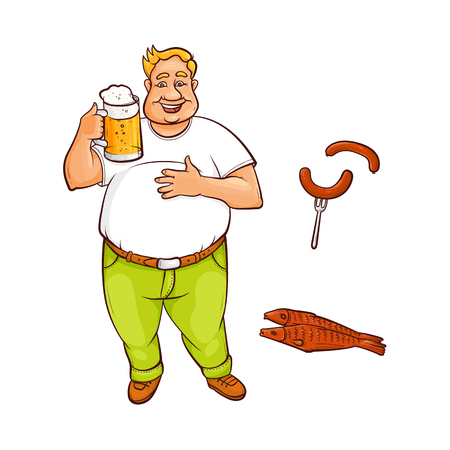 Vector cartoon beer lover - adult man with big beer belly holding mug of golden lager cool beer with thick foam, sausage at fork, dried fish - beer snacks. Isolated illustration, white background