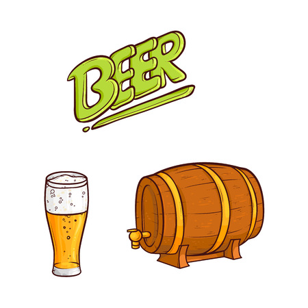 vector cartoon beer symbols set. Mug of golden lager cool beer with thick white foam, water drops, wooden keg, barrel, beer inscription. Ready for your design isolated illustration, white background.