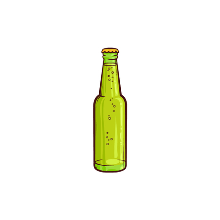 Vector cartoon beer glass bottle with water drops green mockup closeup without label. Ready for your design product packaging. Isolated illustration on a white background. Ilustracja