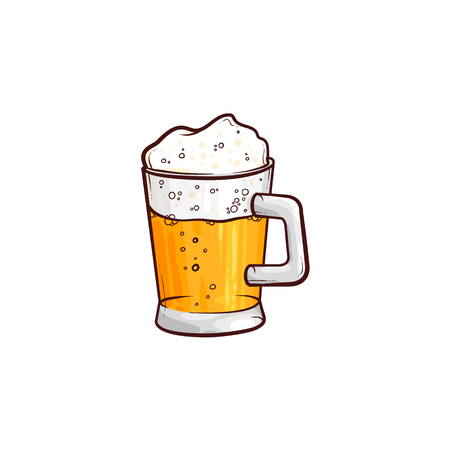 vector cartoon full mug of golden lager cool beer with thick white foam and water drops mockup closeup. Ready for your design product packaging. Isolated illustration on a white background.