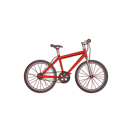 Vector flat sketch detailed modern bicycle, red mountain bike. Sport equipment object. graphic design or web design element. Isolated illustration on a white background Illustration