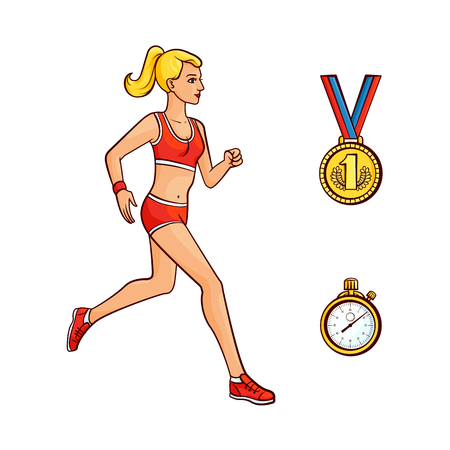 Vector flat hand drawn sportive girl doing sport, first place golden medal, stopwatch icons. Girl running, jogging in summer clothing. Isolated illustration on a white background.  イラスト・ベクター素材