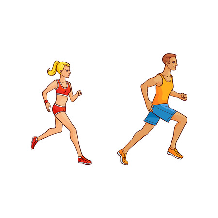 Vector flat hand drawn sportive people doing sport. Girl and man running, jogging in summer clothing. Isolated illustration on a white background. Ilustrace