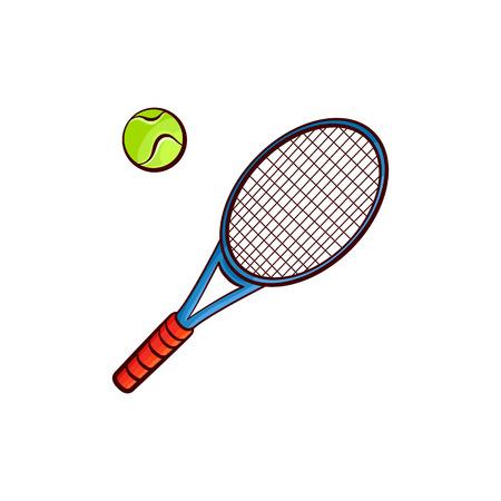평면 벡터 스케치 테니스 공, 라켓 스포츠 장비 귀하의 그래픽 디자인 또는 웹 디자인 요소에 고립 된 개체 흰색 배경에 그림을 격리합니다. 일러스트