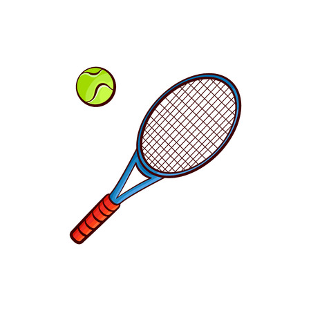 Flacher Vektorskizzentennisball, Schlägersportausrüstungsgegenstand für Ihr Grafikdesign oder Webdesignelement lokalisierten Illustration auf einem weißen Hintergrund.