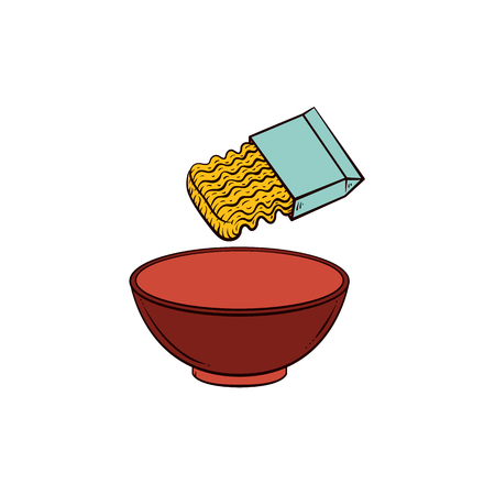 Empty bowl and instant noodle, pasta cooking instruction, sketch, hand drawn vector illustration isolated on white background. Cooking pasta - opened package of instant noodle and empty bowl