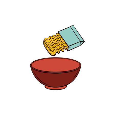 Lege kom en instant noodle, pasta koken instructie, schets, hand getrokken vectorillustratie geïsoleerd op een witte achtergrond. Koken van pasta - geopend pakket van instant noodle en lege kom