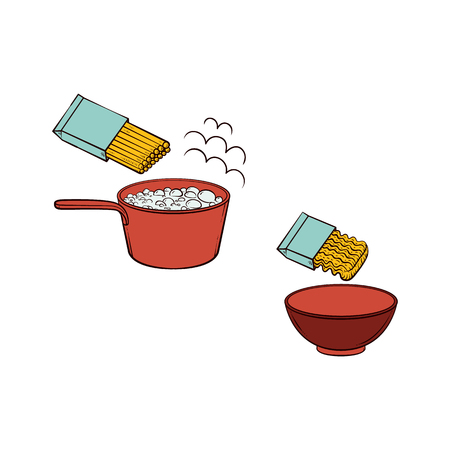 Vector flat spaghetti, pasta or instant noodles preparation steps icon set. Noodles boiling in pot, serving pasta in ceramic bowl, Isolated illustration on a white background