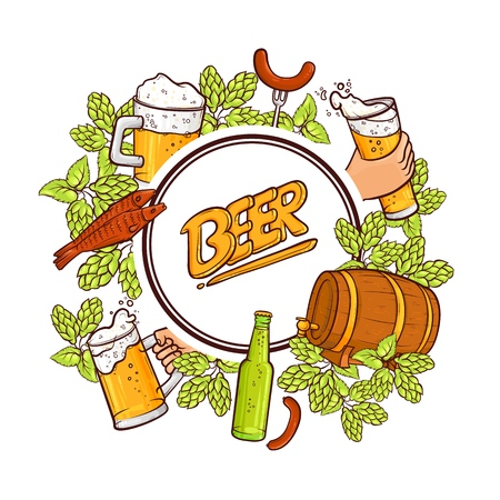 Emblem, label design with round frame of hand drawn beer mug, glass and bottle, hops, fish, sausages, vector illustration isolated on white background. Beer label, banner, emblem design round frame