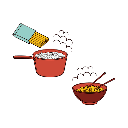 Vector flat spaghetti, pasta or noodles preparation steps icon set. Noodles boiling in pot, Prepared hot instant food in ceramic pot, bowl with bamboo shopsticks Isolated illustration