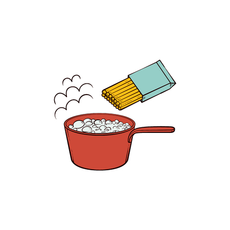 Boiling water and spaghetti, pasta cooking instruction, sketch hand drawn vector illustration isolated on white background. Cooking pasta - water boiling in pan and package of uncooked spaghetti Illustration