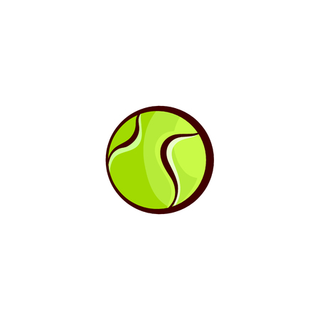 vector flat sketch tennis ball, sport equipment object for your graphic design or web design element. Isolated illustration on a white background