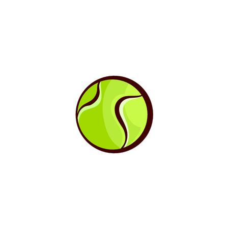 Vektor flache Skizze Tennisball, Sportgeräte Objekt für Ihr Grafikdesign oder Web-Design-Element. Getrennte Abbildung auf einem weißen Hintergrund