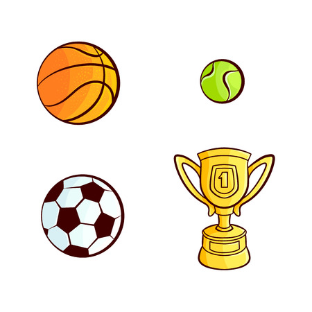 vector flat sketch sport equipment set. Basketball, football or soccer, tennis ball , golden winner cup, trophy award objects . Isolated illustration on a white background