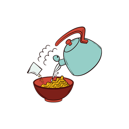 Cooking pasta - put instant noodle into bowl, add spices and boiling water, hand drawn vector illustration isolated on white background. Pouring boiling water and spices into bowl with instant noodle