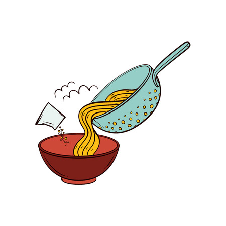 Cooking pasta - put spaghetti from colander into bowl, add salt, seasoning, hand drawn vector illustration isolated on white background. Putting cooked spaghetti from pasta strainer into serving bowl