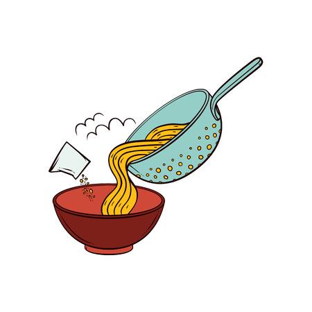 Kokende deegwaren - zet spaghetti van vergiet in kom, voeg zout, kruiden, hand getrokken vectordieillustratie op witte achtergrond wordt geïsoleerd toe. Gekookte spaghetti uit pastazeef in serveerschaal doen