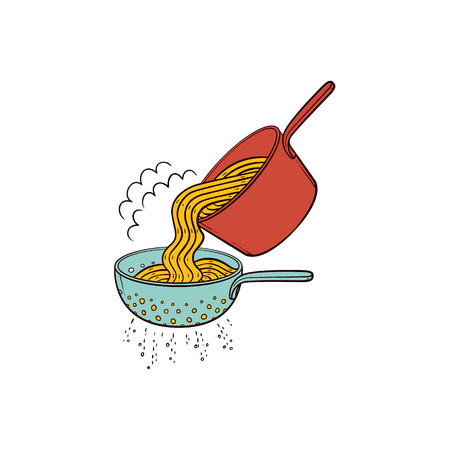 Cooking pasta - when spaghetti is cooked, drain it in colander, hand drawn vector illustration isolated on white background. Putting cooked spaghetti from pan into pasta strainer to drain water Vettoriali