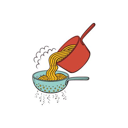 Cucinando la pasta - quando gli spaghetti sono cotti, scolarli in scolapasta, illustrazione disegnata a mano di vettore isolata su fondo bianco. Mettere gli spaghetti cotti dalla padella nel colino per drenare l'acqua Vettoriali